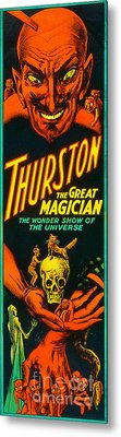 Metal Print featuring the photograph Remastered Nostagic Vintage Poster Art Thurston The Great Magician Wonder Show 20170415 V2 by Wingsdomain Art and Photography