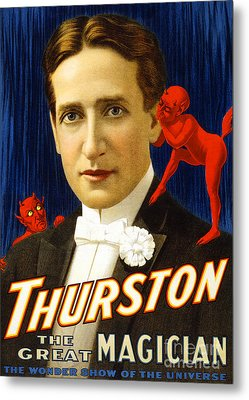 Metal Print featuring the photograph Remastered Nostagic Vintage Poster Art Thurston The Great Magician Wonder Show 20170415  by Wingsdomain Art and Photography