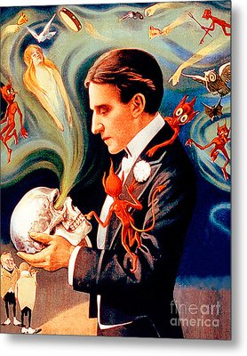 Metal Print featuring the photograph Remastered Nostagic Vintage Poster Thurston The Great Magician Do The Spirits Come Back 20170415 V2 by Wingsdomain Art and Photography
