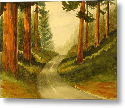 Metal Print featuring the painting Remembering Redwoods by Marilyn Jacobson