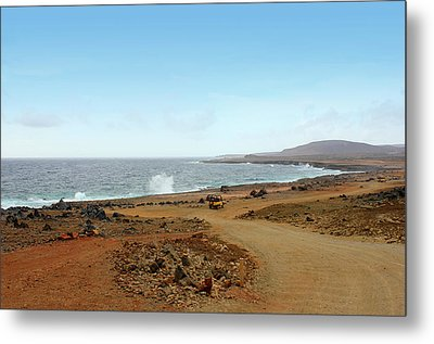 Remote Beach And Waves Off Coast Of Aruba Metal Print