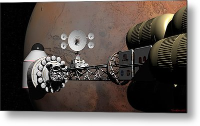 Metal Print featuring the digital art Rendezvous At Mars by David Robinson