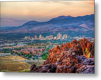 Reno Nevada Cityscape At Sunrise Metal Print by Scott McGuire