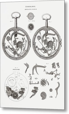 Repeating Watch. From The Cyclopaedia Metal Print