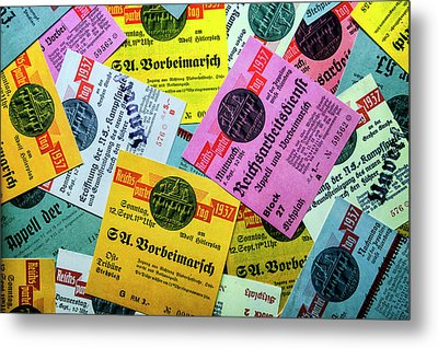 Reproductions Of Tickets For Events Of The Nazi Party. Metal Print by Pablo Lopez