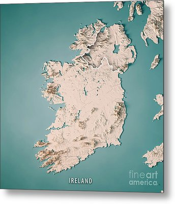 Republic Of Ireland Country 3d Render Topographic Map Neutral Metal Print