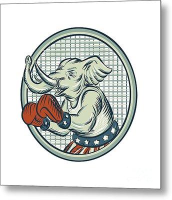 Republican Elephant Boxer Mascot Circle Etching Metal Print