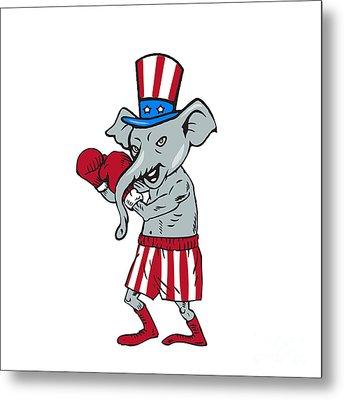 Republican Mascot Elephant Boxer Boxing Cartoon Metal Print