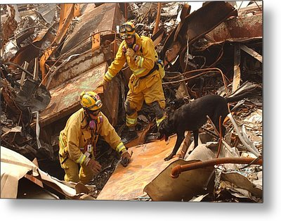 Rescue Workers From The California Task Metal Print