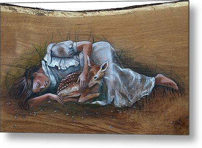 Resting Maiden With Fawn Metal Print by Jacque Hudson
