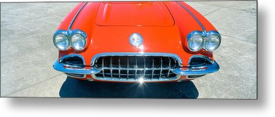 Restored Red 1959 Corvette, Front Metal Print by Panoramic Images
