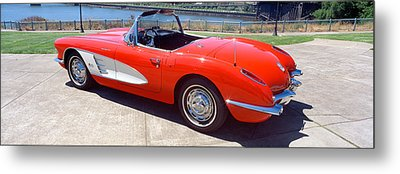 Restored Red 1959 Corvette, Side View Metal Print by Panoramic Images