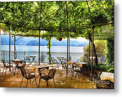 Tables On A Patio Under A Trellis Metal Print by George Oze