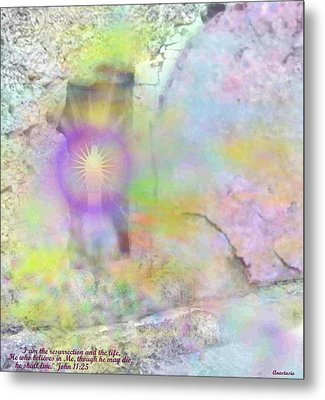 Metal Print featuring the photograph Resurrection Moment Garden Tomb Vision With  Inspirational Verse  by Anastasia Savage Ealy