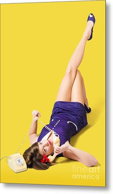 Retro 1950s Pinup Girl Chatting On Telephone Metal Print by Jorgo Photography - Wall Art Gallery