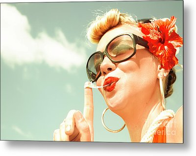 Retro Bubblegum Pin-up Metal Print by Jorgo Photography - Wall Art Gallery