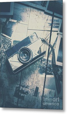 Retro Camera And Instant Photos Metal Print