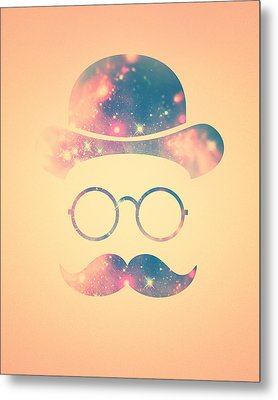 Retro Face With Moustache And Glasses  Universe  Galaxy Hipster In Gold Metal Print