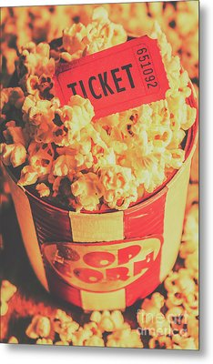 Retro Film Stub And Movie Popcorn Metal Print by Jorgo Photography - Wall Art Gallery