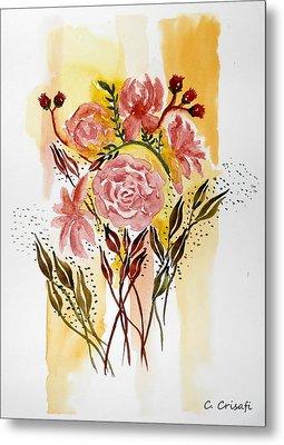 Retro Florals Metal Print