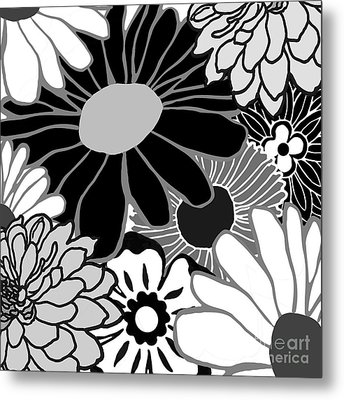Retro Flowers Metal Print by Mindy Sommers