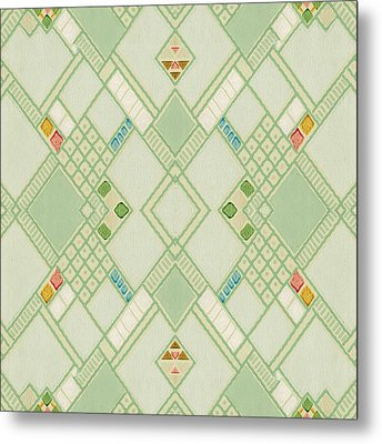 Metal Print featuring the digital art Retro Green Diamond Tile Vintage Wallpaper Pattern by Tracie Kaska