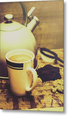 Retro Kettle With The Mug Of Tea Metal Print