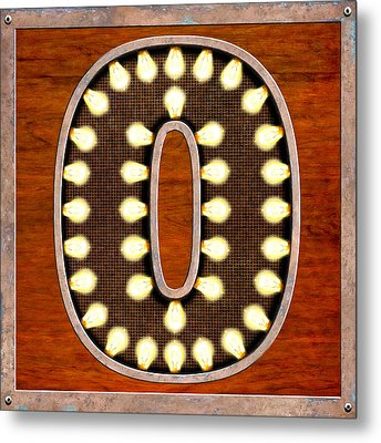 Retro Marquee Lighted Letter O Metal Print by Mark E Tisdale