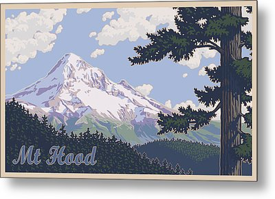 Retro Mount Hood Metal Print
