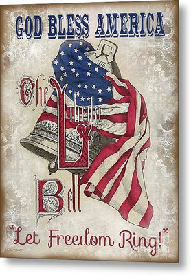 Metal Print featuring the digital art Retro Patriotic-a by Jean Plout