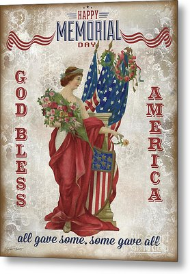 Metal Print featuring the digital art Retro Patriotic-b by Jean Plout