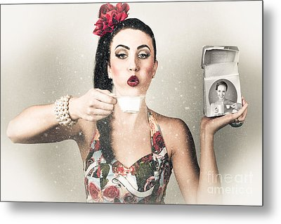 Retro Pin Up Poster Girl. Wash And Clean Service Metal Print