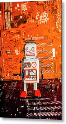 Retro Robotic Nostalgia Metal Print