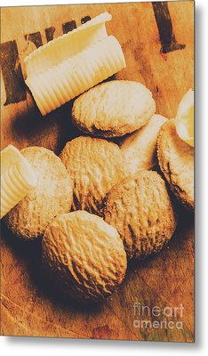 Retro Shortbread Biscuits In Old Kitchen Metal Print