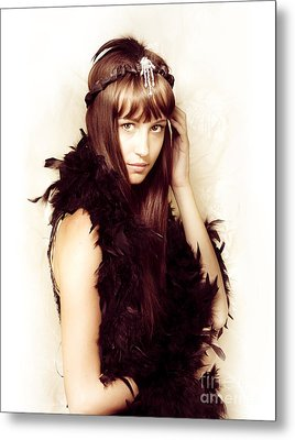 Retro Showgirl In Feather Boa Metal Print by Jorgo Photography - Wall Art Gallery