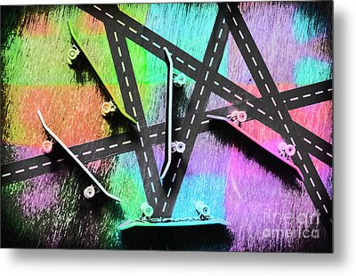 Retro Skaters Parade Metal Print
