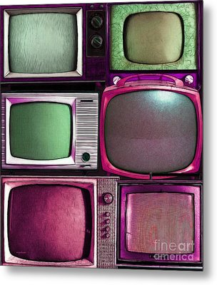 Retro Television Marathon 20150928vertical V2 M68 Metal Print by Wingsdomain Art and Photography