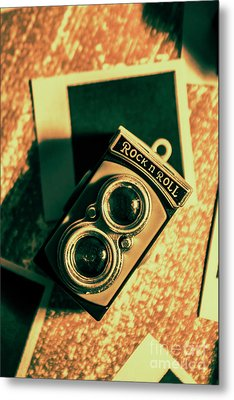 Retro Toy Camera On Photo Background Metal Print by Jorgo Photography - Wall Art Gallery