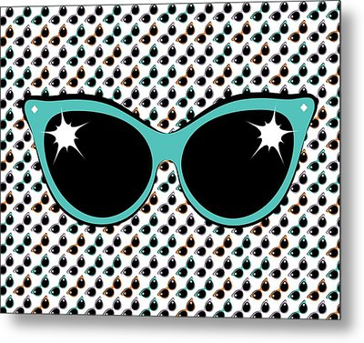 Retro Turquoise Cat Sunglasses Metal Print