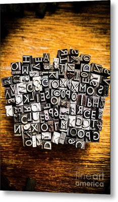 Retro Typesetting In Print Metal Print by Jorgo Photography - Wall Art Gallery