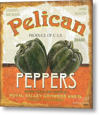 Retro Veggie Labels 3 Metal Print by Debbie DeWitt