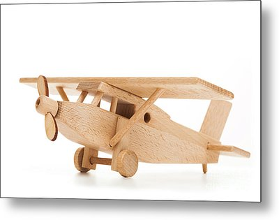 Retro Wooden Airplane Isolated On White Background Metal Print by Michal Bednarek
