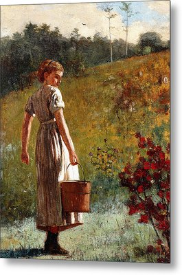 Returning From The Spring Metal Print by Winslow Homer