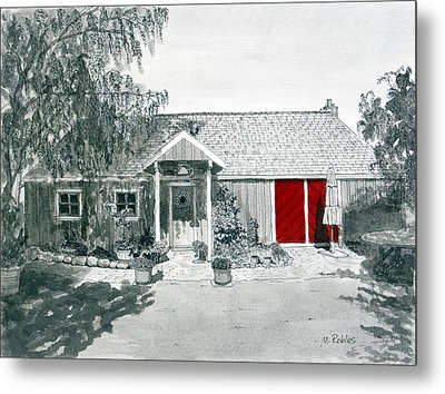 Retzlaff Winery With Red Door No. 2 Metal Print by Mike Robles