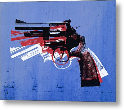 Revolver On Blue Metal Print by Michael Tompsett