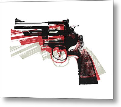 Revolver On White Metal Print by Michael Tompsett