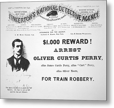 Reward Poster For The Arrest Of Oliver Perry Issued  Metal Print by American School