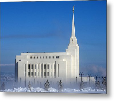 Rexburg Temple Rises Above The Mist Metal Print by DeeLon Merritt