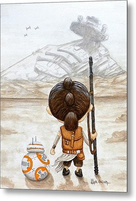 Rey With Bb8 Metal Print