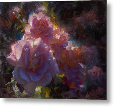 Metal Print featuring the painting Rhapsody Roses - Flowers In The Garden Painting by Karen Whitworth